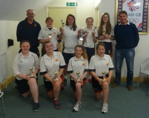 Great Melton Women with coach Chris Brook & the Chairman.  Back Row: Robyn Edge, Emily Reay, Aimee Palmer, Sophie Harrad. Front Row: Laura Edge, Hannah Brook, Bethany Harmer, Becky Greenslade.