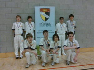 Great Melton U14s with their runners-up medals at the Lords Taverners' Tournament at the UEA.