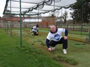 Weeding the wicket - Paul Stearman & Marcus Mawby.